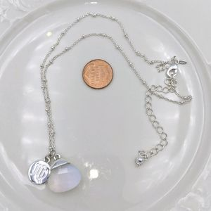 Avon Silver Tone Crystal Initial M Necklace
